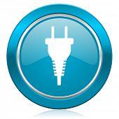 plug blue icon electric plug sign