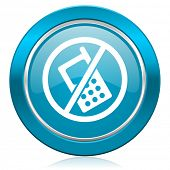 no phone blue icon no calls sign