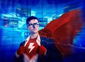 Thunderbolt Strong Superhero Success Professional Empowerment Stock Concept