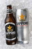 Sapporo Can And Bottle On Ice