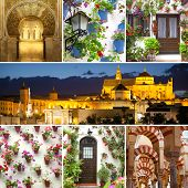 Set of Famous Landmarks and Decorated Houses Exteriors, Cordoba, Spain, Europe