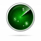 Vector illustration of green locating radar for business