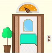 Flat vector icon for hotel. Opened elevator
