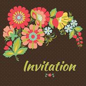 pic of decoupage  - Wedding card or invitation with abstract floral background - JPG