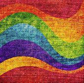 Abstract Rainbow Wave Paint Burlap Rustic Jute Background