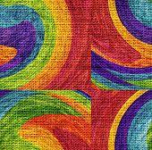 Mosaic Rainbow Paint Burlap Rustic Jute Background