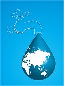Tap with water drop in the shape of the Earth