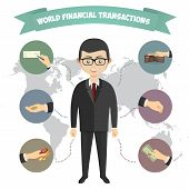 Assorted Vector Mode of Payment Types Drawings Isolated on Background. Infographics, a businessman e