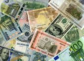 Background. Euro Banknotes, Us Dollars And Belarus Currency (rubles)
