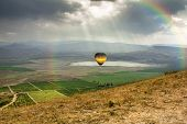 The Balloon Is Flying Over The Valley Near The Village Of Koktebel In Crimea