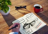 Businessman Sketching Strategy Planning Mission Ideas Concept