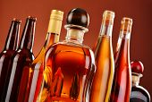 picture of ethanol  - Bottles of assorted alcoholic beverages including beer and wine - JPG