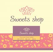 Vector logo, business card for a candy store. Background of sladstey cookies, candy.
