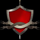 Medieval Shield With Two Scrolls And Sword On Black Background.