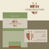 Vector logo, business card and cover for construction companies, real estate agencies. The design co