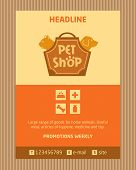 Logo for pet shop. Brochure, Flyer design vector template in A4 size. Advertise store for pets. Icon