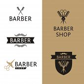 Vector heraldic logo for a hairdressing salon. Set logo for barber shop