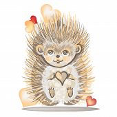 Valentine's Day Card With A Hedgehog.