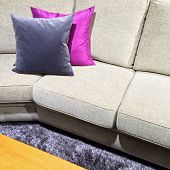 Sofa With Purple Cushions On A Fluffy Carpet