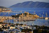 pic of gumbet  - View of Bodrum harbor during hot summer day - JPG