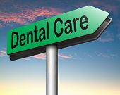 image of oral  - dental care center road sign oral hygiene or surgery for healthy teeth without caries but with a beautiful smile with text  - JPG