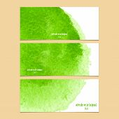 Vector Banners With Watercolor Green.