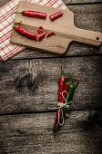 Chilli Peppers, Wood Table, Background
