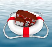 image of drowning  - A home in a life preserver adrift at sea - JPG