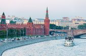 Red Walls Of The Kremlin And Ship On Moscow River