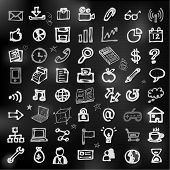 Hand drawn business icons on chalkboard vector