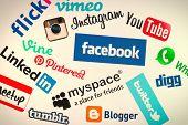 Popular Social Media Website Logos On Computer Screen