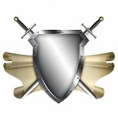 Ancient Shield With Scroll And Two Swords On White Background.