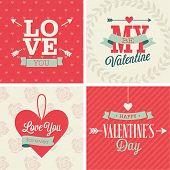 Valentine`s day set - four cards. Vector illustration.