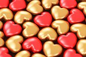 Red and golden hearts