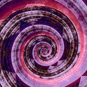 Abstract fractal twirl. Purple pink background. Digital artwork graphic. Geometric shape.