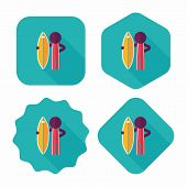 Surfing Flat Icon With Long Shadow