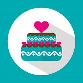 Valentine cake, flat icon with long shadow, vector illustration