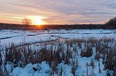 Meandering Creek Of Minnesota Valley At Sundown