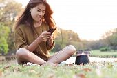 Women Feel Relax Use Smart Phone Mobile At Evening