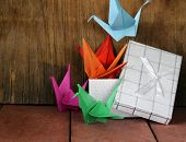 colorful paper origami birds crane Japanese symbol