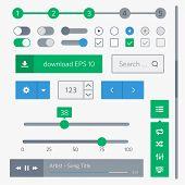 Simple UI set of flat design trend for website development and mobile application design