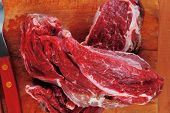 savory: uncooked raw bloody beef meat steak before cooking on wood