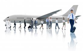 picture of cabin crew  - Travel Business People Cabin Crew Transportation Airplane Concept - JPG