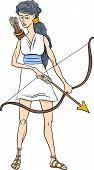 image of artemis  - Cartoon Illustration of Mythological Greek Goddess Artemis - JPG
