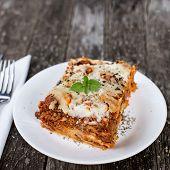 stock photo of lasagna  - Close - JPG