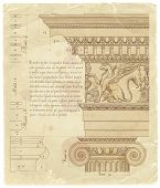 stock photo of architecture  - Vintage sheet of manuscript  - JPG