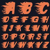 picture of ignite  - ABC Fire Letters Speed or Heat Concept Vector Illustration - JPG