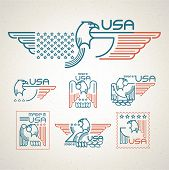 stock photo of eagle  - Made in the USA Symbol with  American flag and eagle Set of templates emblems - JPG