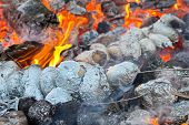 stock photo of baked potato  - Baked potatoes covered with aluminum foil roasting in a bonfire with orange flames and firewood - JPG
