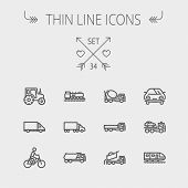 image of tank truck  - Transportation thin line icon set for web and mobile - JPG